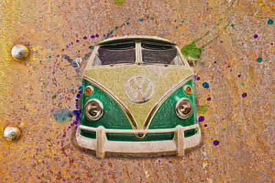 Photograph - Vw Bus On Metal by Steve McKinzie