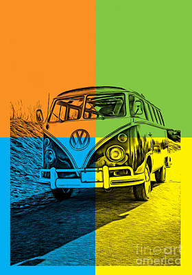 Vintage Bus Photograph - Vw Bus Pop Art 4 by Edward Fielding