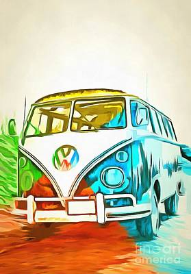 Vintage Bus Photograph - Vw Bus Pop Art 5 by Edward Fielding
