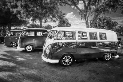 Photograph - Vw Bus Stop 1964 1961 1968 Vans Trucks Painted Bw   by Rich Franco