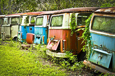 Vw Buses Art Print by Carolyn Marshall