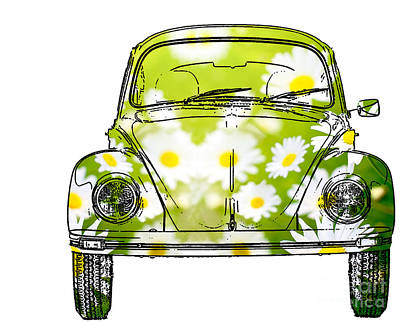 Daisy Mixed Media - Vw Daisy Bug by Jon Neidert