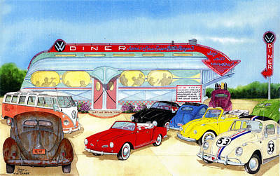 Beetle Drawing - Vw Diner by Larry Johnson