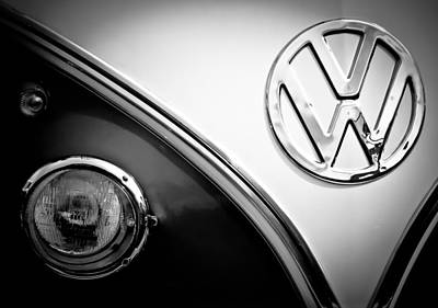 Photograph - Vw Emblem Black And White by Athena Mckinzie