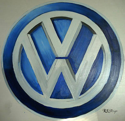 Painting - Vw Logo Blue by Richard Le Page