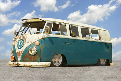 Campers Digital Art - Vw Lowrider Bus by Mike McGlothlen