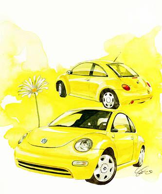 Vw Painting - Vw New Beetle by Yoshiharu Miyakawa