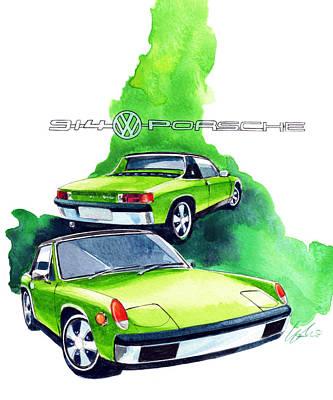 Vw Painting - Vw Porsche 914 by Yoshiharu Miyakawa