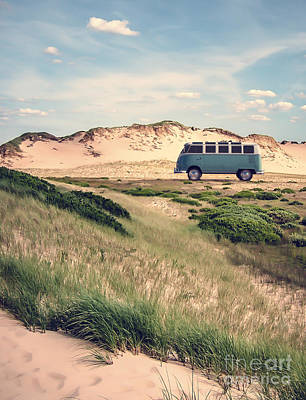 Vw Surfer Bus Out In The Sand Dunes Art Print by Edward Fielding