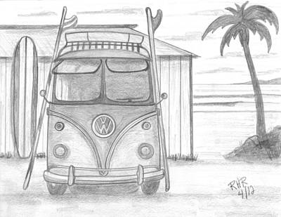 Shack Drawing - Vw Surfing Bus by Ray Ratzlaff