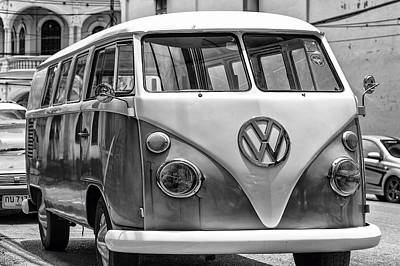 Antique Collectables Photograph - Vw Van In Black And White by Georgia Fowler