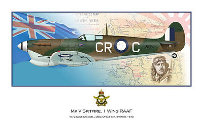 Clive Digital Art - W/c Clive Caldwell Dso Dfc And Bar by Mark Donoghue