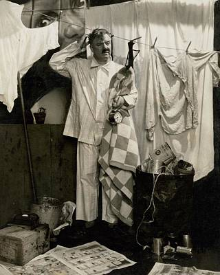 Button Down Shirt Photograph - W. C. Fields Wearing Pyjamas by Edward Steichen