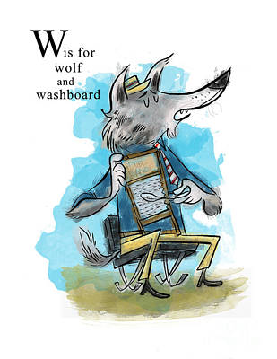 Washboard Painting - W Is For Wolf by Sean Hagan