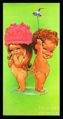Artful And Whimsical Digital Art - W. M. Otto Bathing Boy And Girl Kitsch 1960s by Pierpont Bay Archive