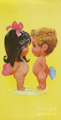 Artful And Whimsical Digital Art - W. M. Otto Bathing Boy And Girl Valentine Love Bathers by Pierpont Bay Archive