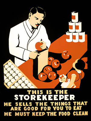 W P A  Food Hygiene Poster C. 1937 Art Print by Daniel Hagerman