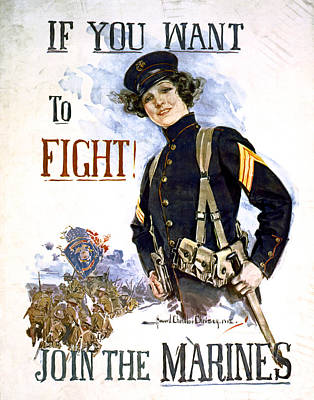 W W 1 Join The Marines Poster Art Print by Daniel Hagerman