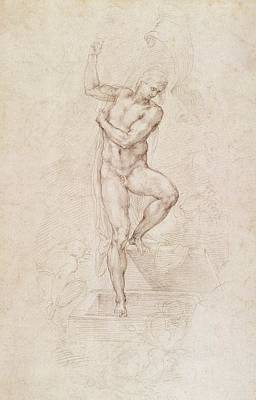 Study Painting - W53r The Risen Christ Study For The Fresco Of The Last Judgement In The Sistine Chapel Vatican by Michelangelo Buonarroti