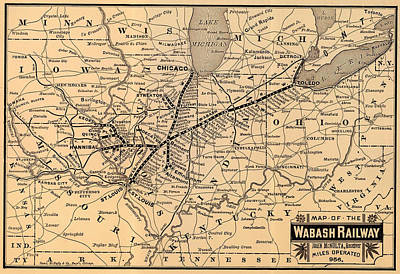 Terminal Drawing - Wabash Railway Map 1887 by Mountain Dreams
