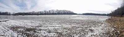 Impressionist Landscapes - Wabash River Ice Jam Panorama by John Mathews