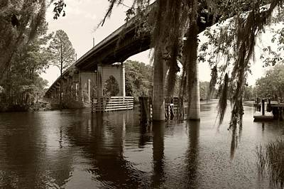 Photograph - Waccamaw Memorial Bridge In April 2 Sepia by MM Anderson