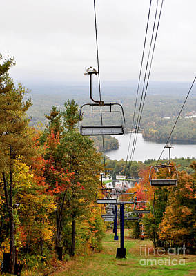Photograph - Wachusett Mountain Ma Fall Foliage Ski Lift by Staci Bigelow