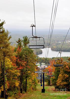 Photograph - Wachusett Mountain Ma Fall Foliage Ski Lift by Staci Bigelow