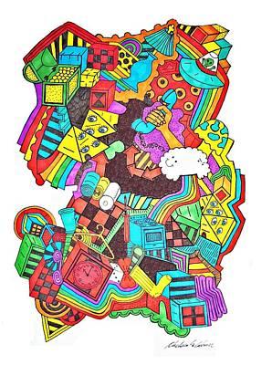 Checkered Pattern Drawing - Wackadoo by Chelsea Geldean