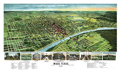 Old Map Painting - Waco - Texas - 1892 by Pablo Romero