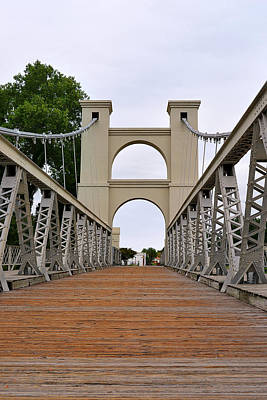 Cattle Drive Photograph - Waco Suspension Bridge by Christine Till