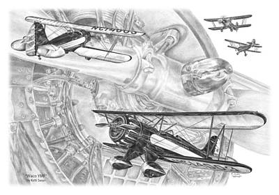 Drawing - Waco Ymf - Vintage Biplane Aviation Art by Kelli Swan