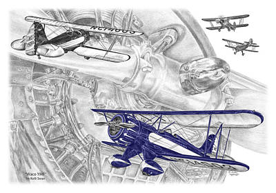 Drawing - Waco Ymf - Vintage Biplane Aviation Art With Color by Kelli Swan