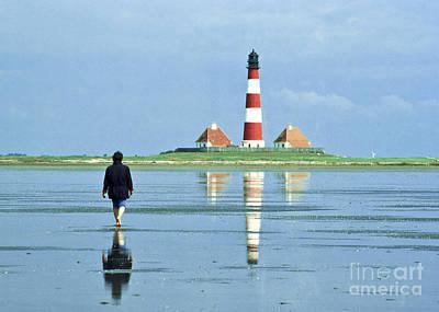 Wadden Sea With Westerhever Lighthouse Art Print by Heiko Koehrer-Wagner