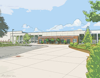 Hamptons Digital Art - Wade Hampton High School by Greg Joens