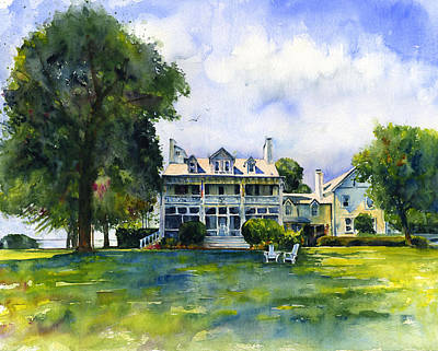 St. John Painting - Wades Point Inn by John D Benson