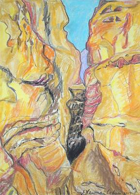 Drawing - Wadi In The Judean Desert by Esther Newman-Cohen