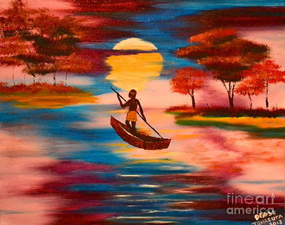 Art Print featuring the painting Wading For Magenta by Denise Tomasura