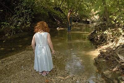 Photograph - Wading In The Creek by Charles Beeler