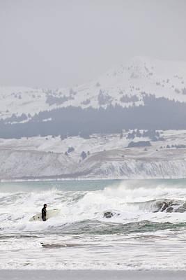 Wading Into Winter Surf Art Print