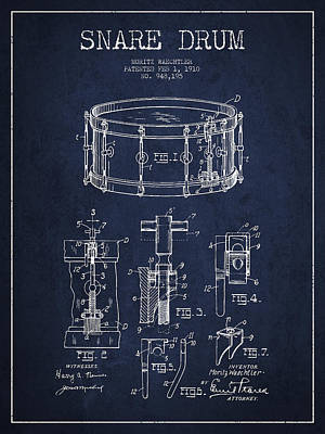 Drummer Drawing - Waechtler Snare Drum Patent Drawing From 1910 - Navy Blue by Aged Pixel