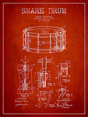 Snare Drum Digital Art - Waechtler Snare Drum Patent Drawing From 1910 - Red by Aged Pixel