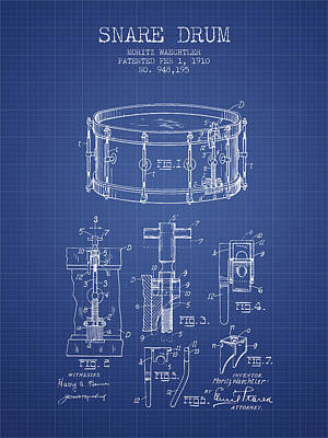 Drummer Drawing - Waechtler Snare Drum Patent From 1910 - Blueprint by Aged Pixel