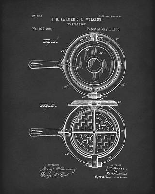 Photograph - Waffle Iron 1883 Patent Art Black by Prior Art Design