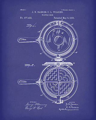 Drawing - Waffle Iron 1883 Patent Art Blue by Prior Art Design