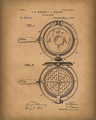 Photograph - Waffle Iron 1883 Patent Art Brown by Prior Art Design