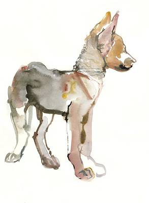 Pup Drawing - Waggle Arabian Wolf Pup by Mark Adlington