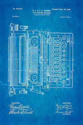 Typewriter Photograph - Wagner Type Writing Machine Patent Art 1899 Blueprint by Ian Monk