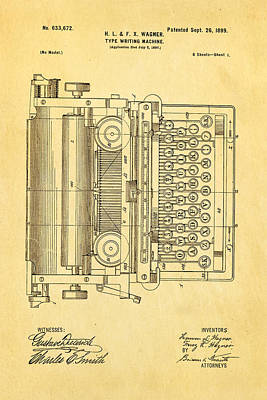 Wagner Type Writing Machine Patent Art 1899 Print by Ian Monk