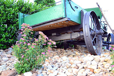 Wagon And Blooms Art Print by Larry Bishop